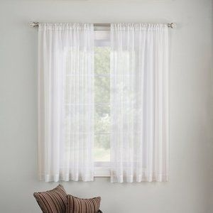 2 SHEER WHITE CURTAIN PANELS